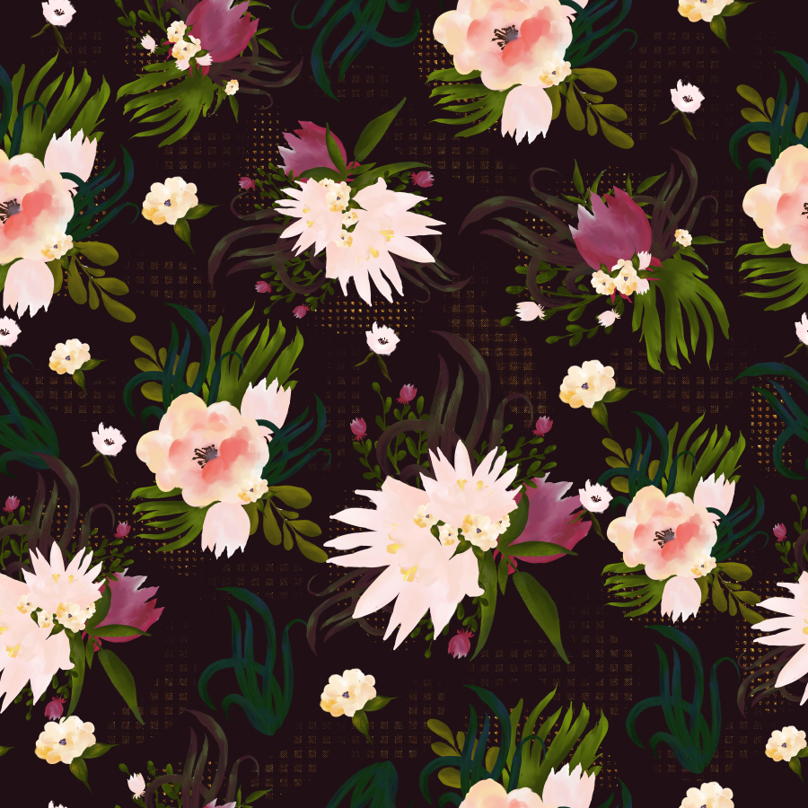 Dark Flower Seamless Pattern