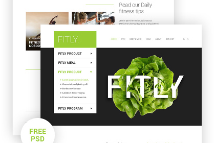 Fitly Free PSD Landing Page