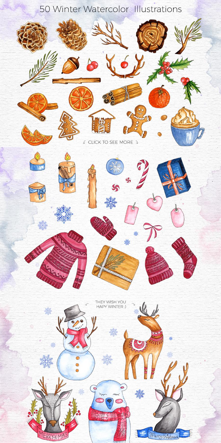Free Winter Watercolor Illustration