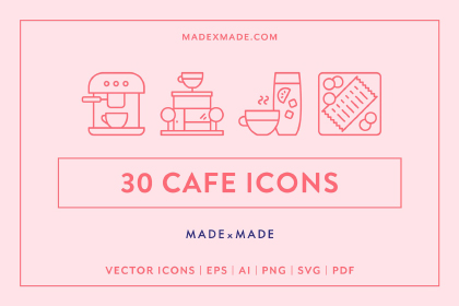 30 Cafe Linear Icon Pack