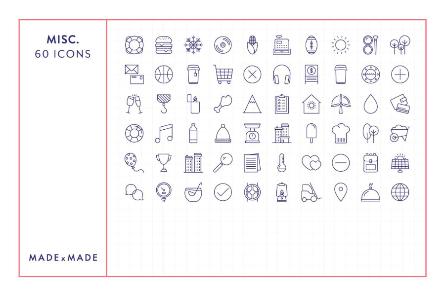 60 Miscellaneous Linear Icons