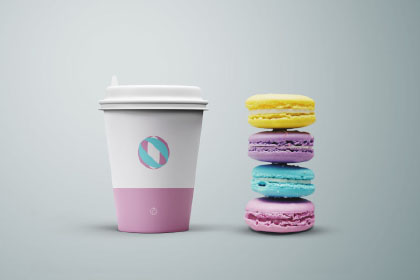 Coffee Cup Cookies Mockup
