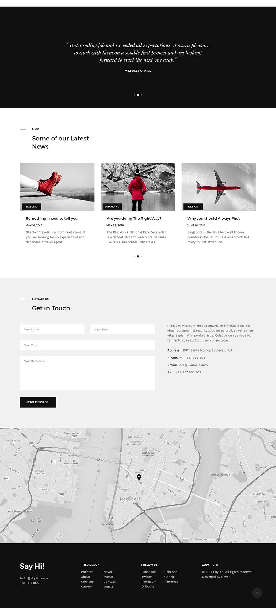 Skylith Free PSD Landing Page