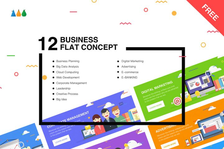 12 Free Business Flat Concept
