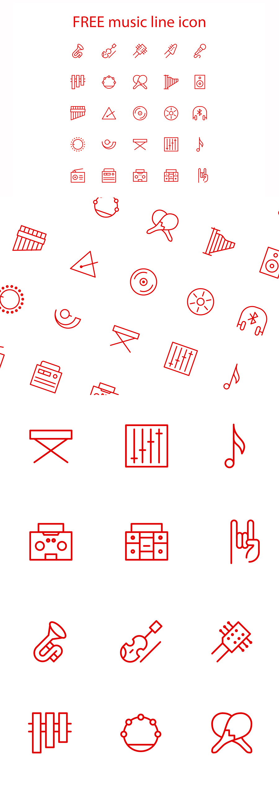 Free Vector Music Linear Icons