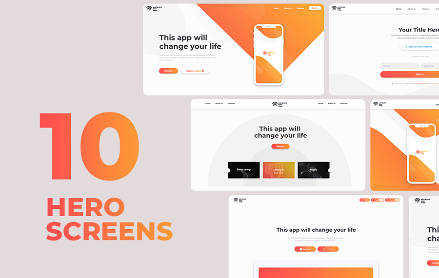 10 Free Hero Screens Pack