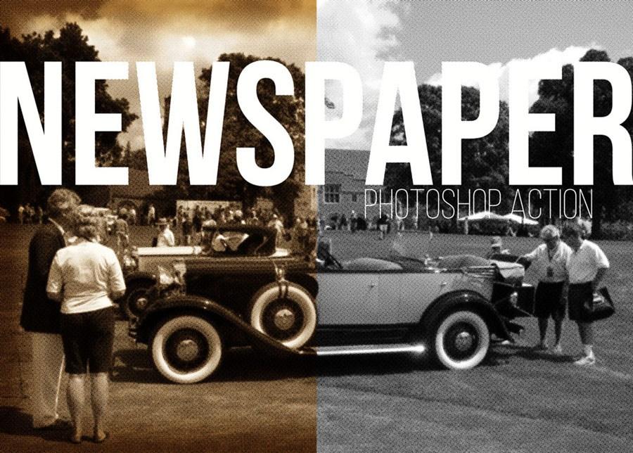 Newspaper Photo Photoshop Action – Free Design Resources