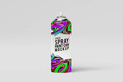 Free Spray Paint Can Mock-Up