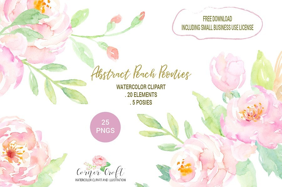 Free Abstract Peach Peonies