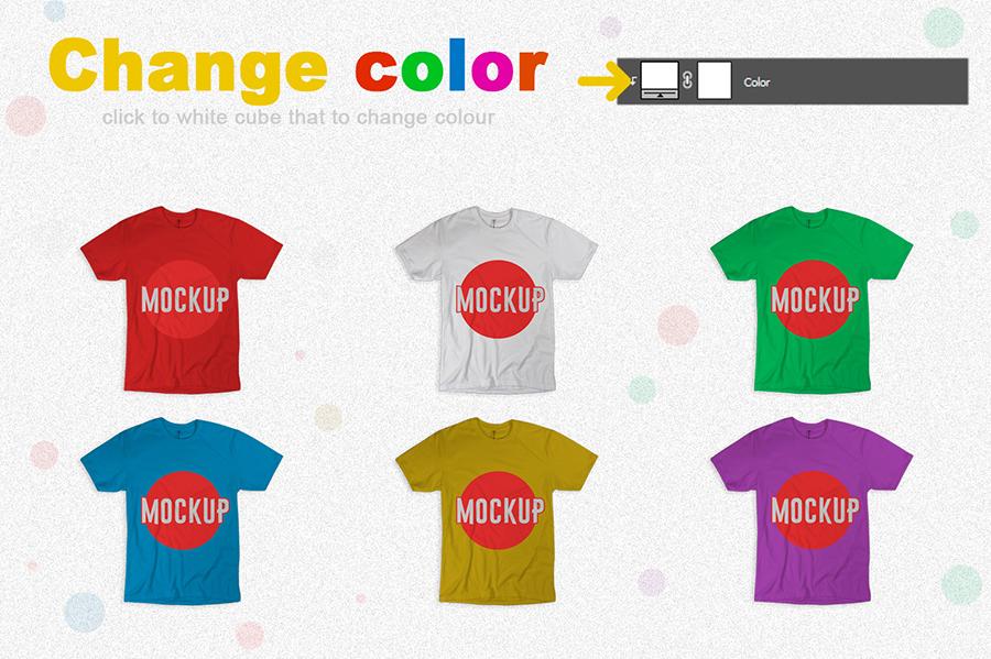 Free Colorful T-Shirt Mockup