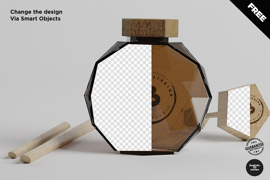 Free Honey Bottle Mockup