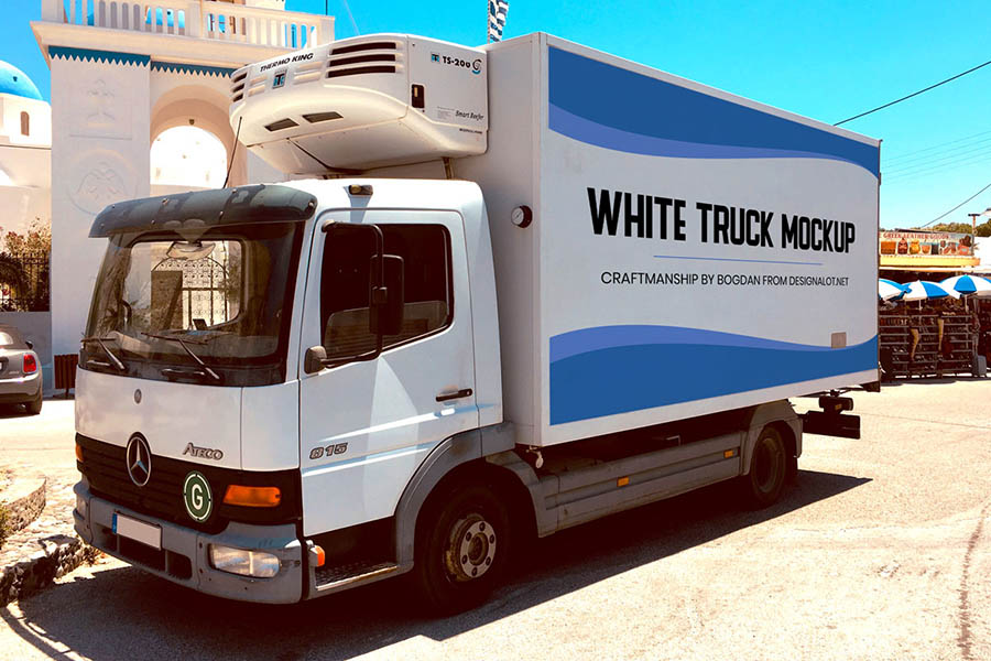 Free White Truck Mockup