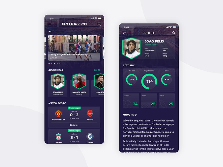 Fullball Free Mobile App UI