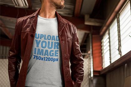 Man in T-shirt Free Mockup