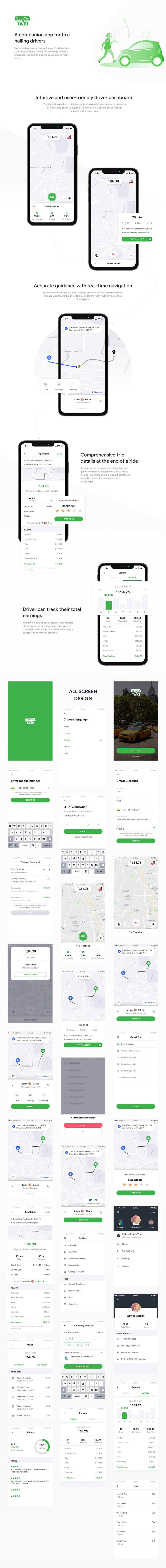 Yelow Taxi Mobile App UI Kit