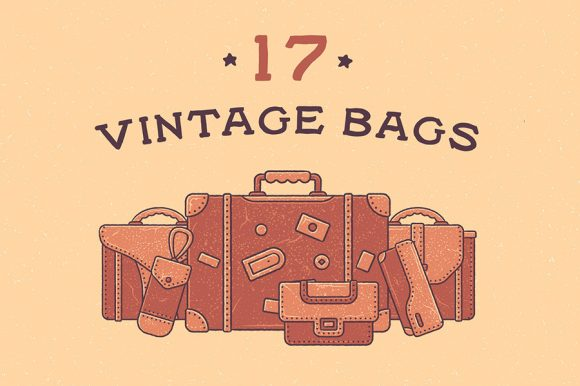 17 Vintage Bags Icon Illustrations