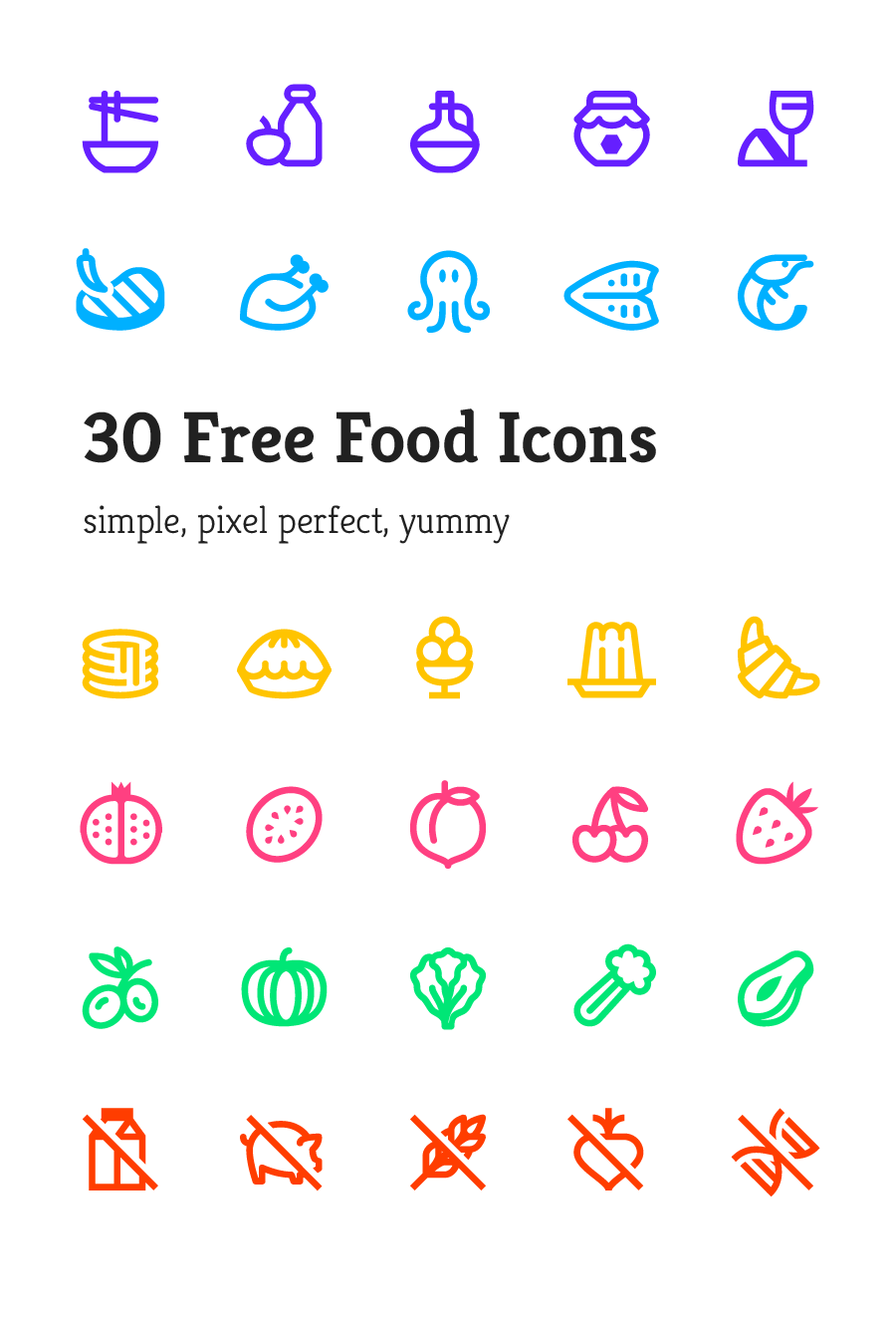 30 Yummy Vector Icon Pack