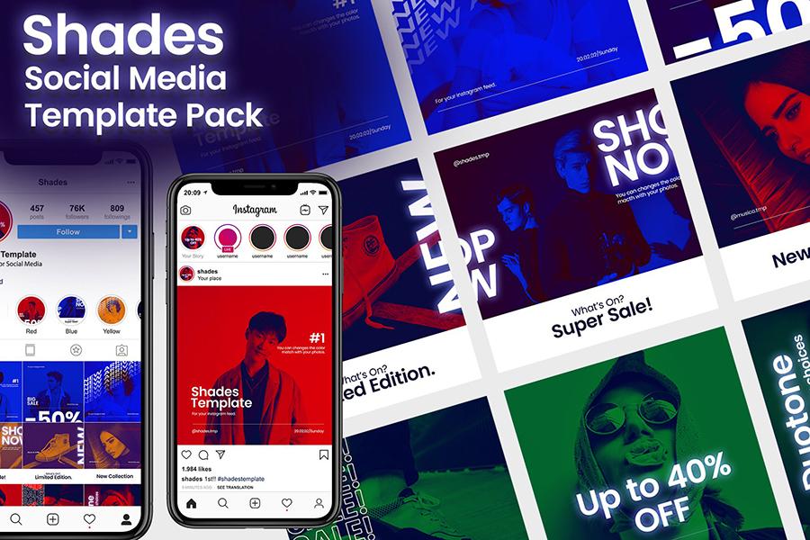 Social Media Template | Shades Social Media Templates Free Design Resources