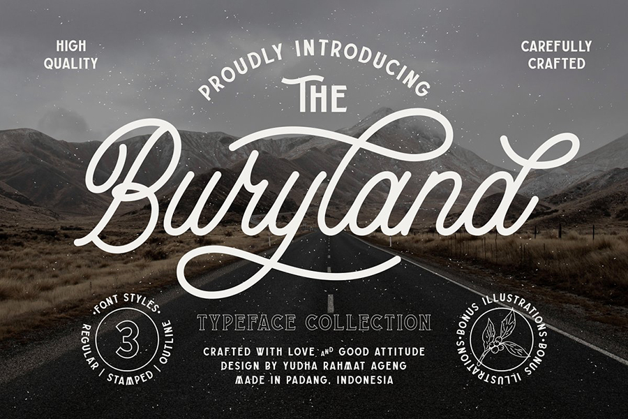 Buryland Vintage Monoline Script