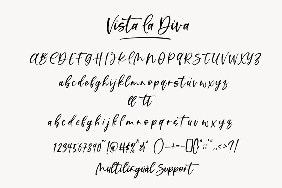 Vista La Diva Script Font