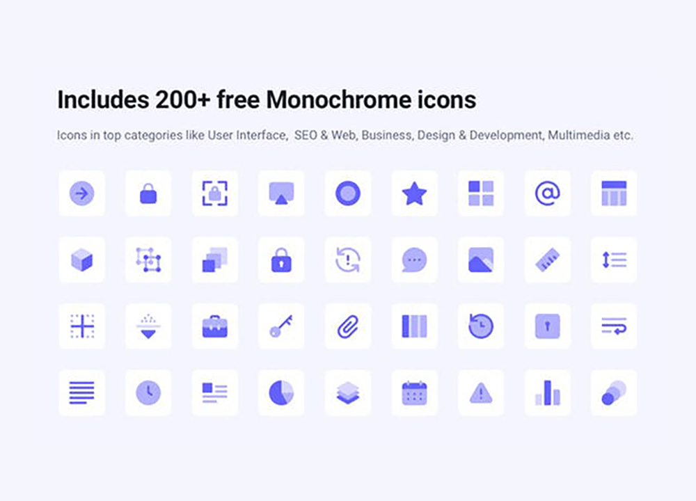 200 Free Monochrome Icons