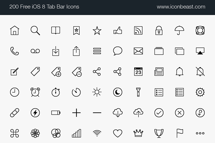 500 Free iOS Tab Bar Icons