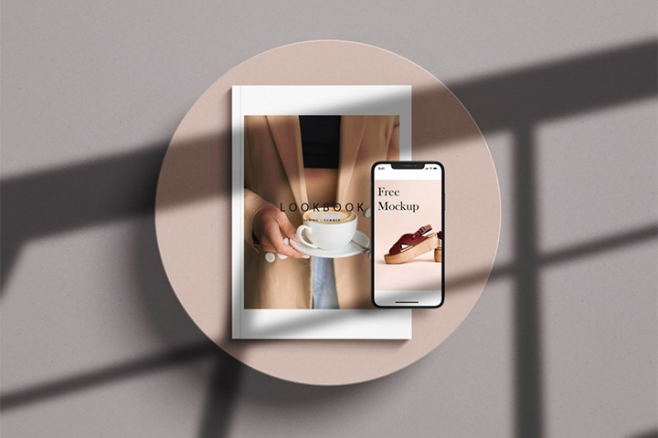 A4 Magazine with iPhone Mockup