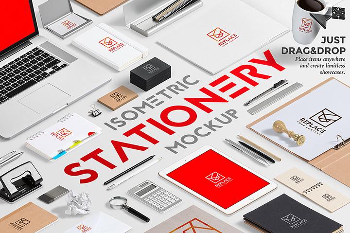 Isometric Stationery Mockup