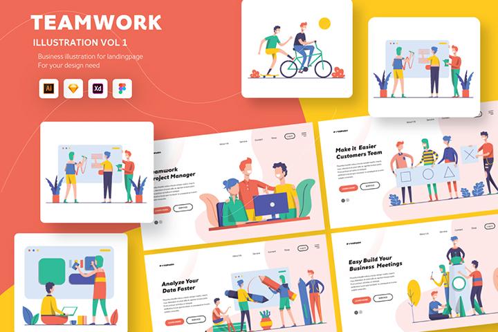Illustration Startup Teamwork Pack V