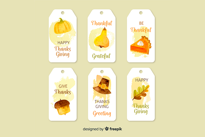 Thanksgiving Hanged Label Vector