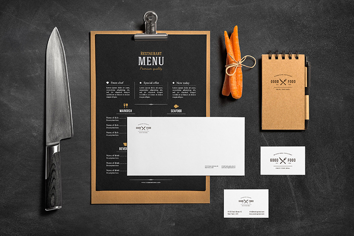 Stationery Food Free Mockup