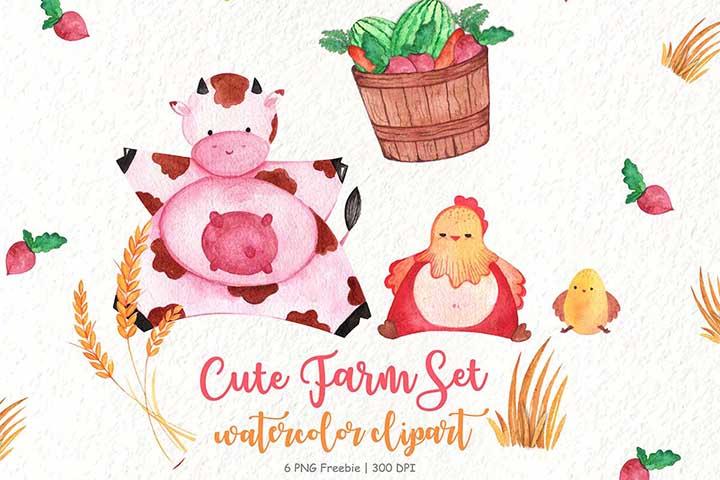 Cute Watercolor Farm Clipart